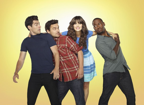 Max Greenfield, Jake Johnson, Zooey Deschanel, and Lamorne Morris Photo