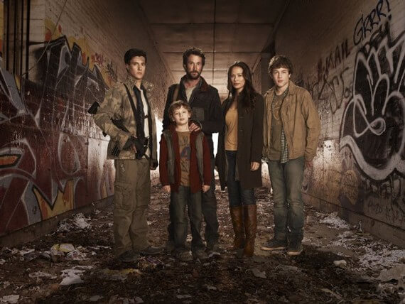 Drew Roy, Noah Wyle, Moon Bloodgood, Connor Jessup and Maxim Knight in Falling Skies