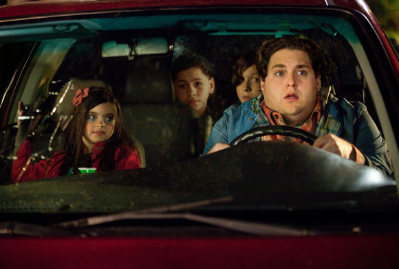 Landry Bender, Kevin Hernandez, Max Records and Jonah Hill in a scene from The Sitter.