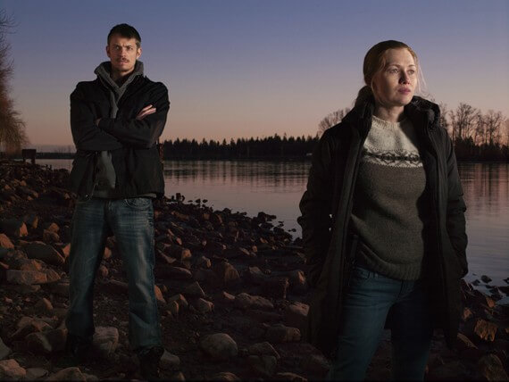 Joel Kinnaman and Mireille Enos in The Killing