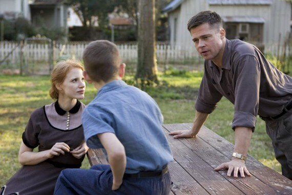 Jessica Chastain, Tye Sheridan, and Brad Pitt in The Tree of Life