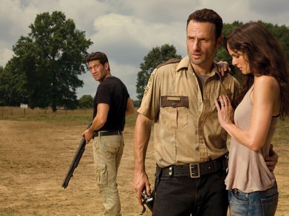 Jon Bernthal, Andrew Lincoln and Sarah Wayne Callies in The Walking Dead