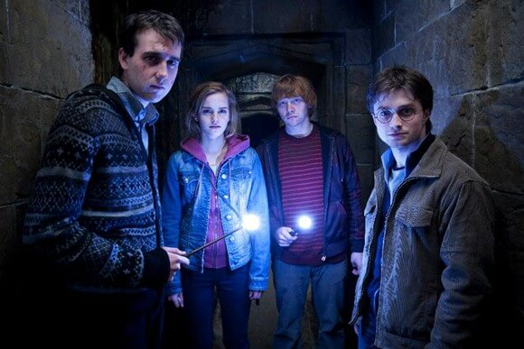 Daniel Radcliffe, Matthew Lewis, Emma Watson, Rupert Grint and Daniel Radcliffe in Harry Potter and the Deathly Hallows Part 2