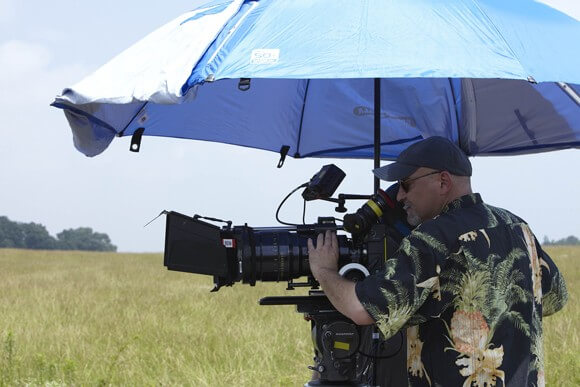 Director Frank Darabont on the set of The Walking Dead