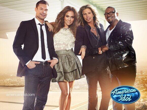 American Idol's Ryan Seacrest, Jennifer Lopez, Steven Tyler and Randy Jackson