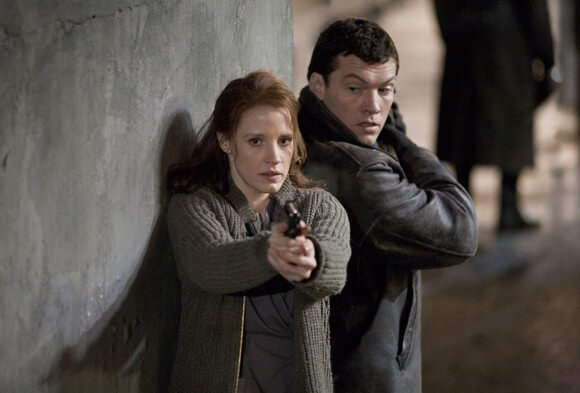 Jessica Chastain and Sam Worthington in The Debt