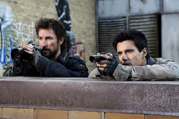 Noah Wyle and Drew Roy in Falling Skies