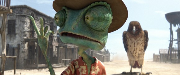Rango (voiced by Johnny Depp) in a scene from 'Rango'