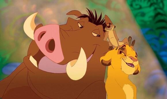 Pumbaa, Timon, Simba in 'The Lion King'