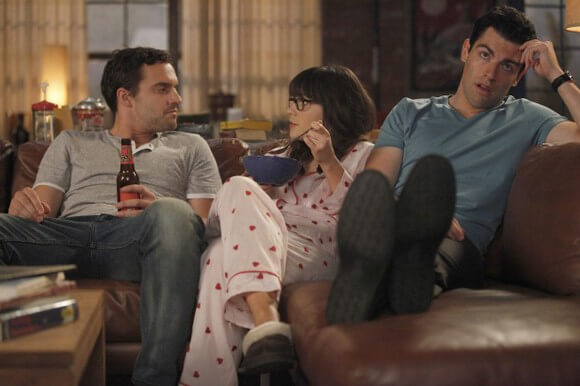 Jake M Johnson, Zooey Deschanel and Max Greenfield in New Girl