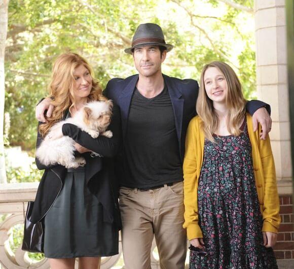 Connie Britton as Vivien Harmon, Dylan McDermott as Ben Harmon, Taissa Farmiga as Violet Harmon in 'American Horror Story'