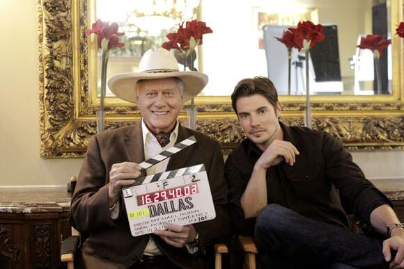 Larry Hagman and Josh Henderson on the Dallas set