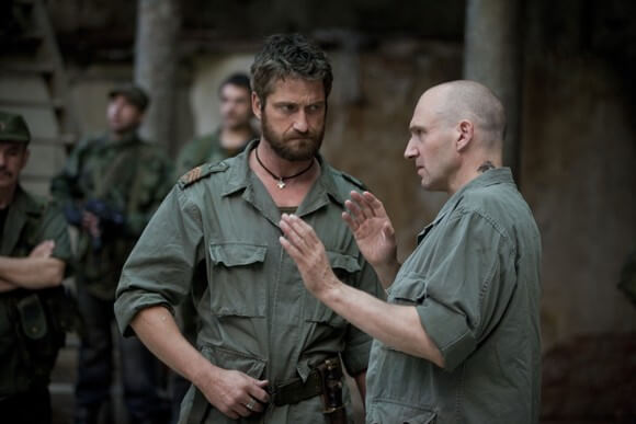 Gerard Butler and actor/director Ralph Fiennes on the set of Coriolanus