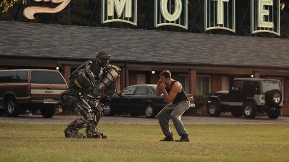 Hugh Jackman in a scene from Real Steel.