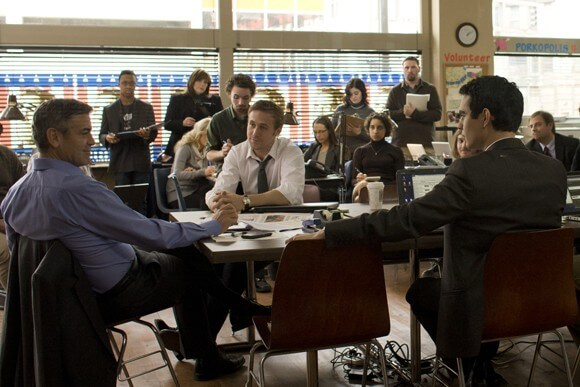 George Clooney, Ryan Gosling and Max Minghella in a scene from The Ides of March