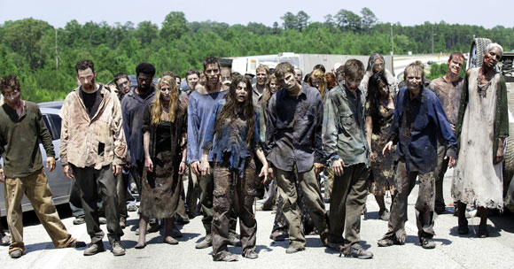 Zombies in a scene from The Walking Dead