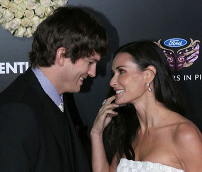 Ashton Kutcher and Demi Moore at the Valentine's Day premiere
