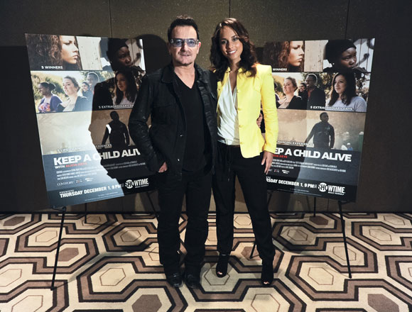 "Bono and Alicia Keys at the premiere of the Showtime documentary ""Keep a Child Alive with Alicia Keys"""