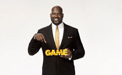 Shaquille O'Neal, seen here holding Cartoon Network's Hall of Game trophy at a photo shoot today, will be hosting the awards show in early 2012