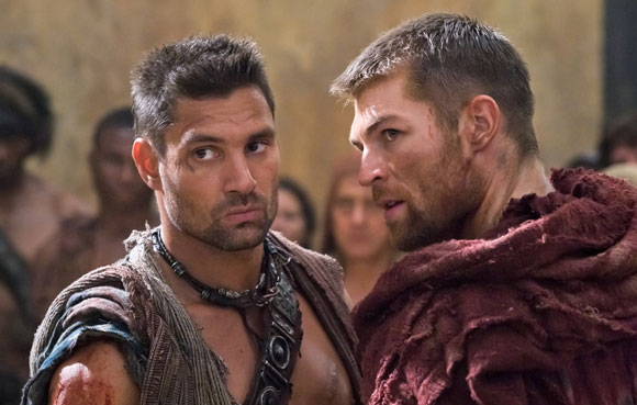 Manu Bennett as Crixus and Liam McIntyre as Spartacus in 'Spartacus: Vengeance'