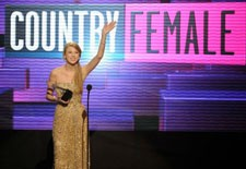 Taylor Swift on stage at the 2011 American Music Awards