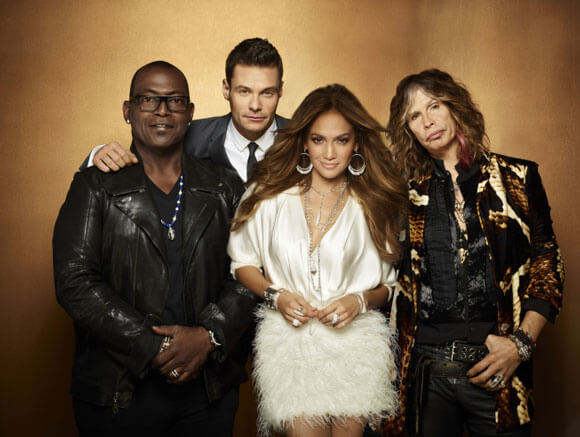 'American Idol' host Ryan Seacrest and judges Randy Jackson, Jennifer Lopez and Steven Tyler