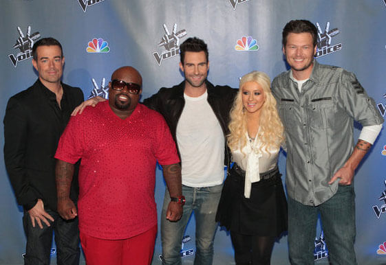 'The Voice' host Carson Daly and judges Cee Lo Green, Adam Levine, Christina Aguilera, and Blake Shelton