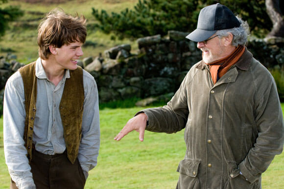 Jeremy Irvine and Steven Spielberg on the set of 'War Horse'