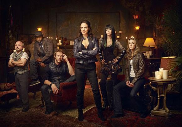 Richard Howland as Trick, K.C. Collins as Detective Hale, Kris Holden-Ried as Dyson, Anna Silk as Bo, Ksenia Solo as Kenzi, Zoie Palmer as Lauren in 'Lost Girl'