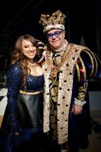 2011 THE X FACTOR winner Melanie Amaro with Sir Elton John at Pepsi's Super Bowl commercial shoot
