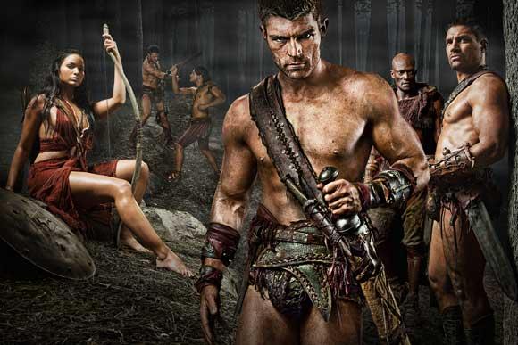 Katrina Law as Mira, Liam McIntyre as Spartacus, Peter Mensah as Oenomaus, & Manu Bennett as Crixus