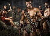 Katrina Law as Mira, Liam McIntyre as Spartacus, Peter Mensah as Oenomaus, & Manu Bennett as Crixus in 'Spartacus: Vengeance'