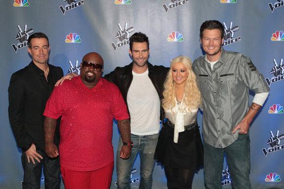 Carson Daly, Cee Lo Green, Adam Levine, Christina Aguilera, and Blake Shelton