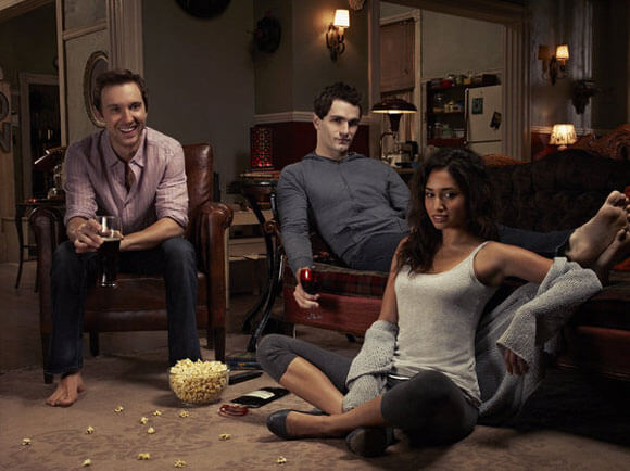Sam Huntington as Josh, Sam Witwer as Aiden, Meaghan Rath as Sally in 'Being Human'