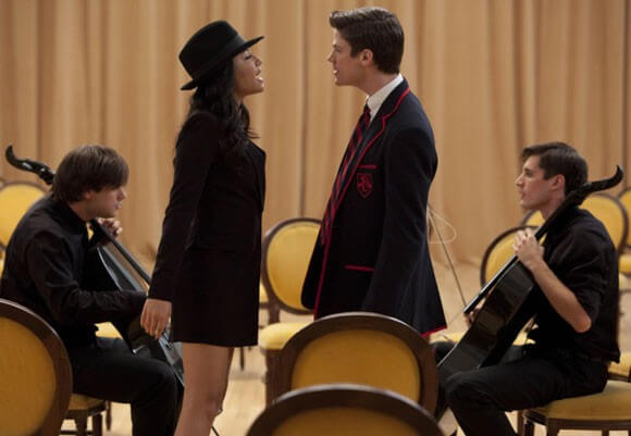 "Santana (Naya Rivera) and Sebastian (Grant Gustin) perform with 2Cellos (Sulic, L and Hauser, R) in the ""Michael"" episode of GLEE"
