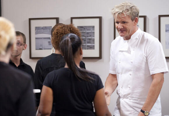 Chef Gordon Ramsay (R) travels to Atlanta, GA, to help the owners and staff of Park's Edge in the Feb 3, 2012 episode of 'Kitchen Nightmares'