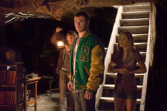 Fran Krantz, Chris Hemsworth, and Anna Hutchison in a scene from The Cabin in the Woods.