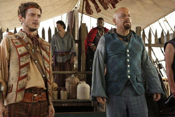 Elijah Wood as Ben Gunn and Eddie Izzard as Long John in 'Treasure Island'