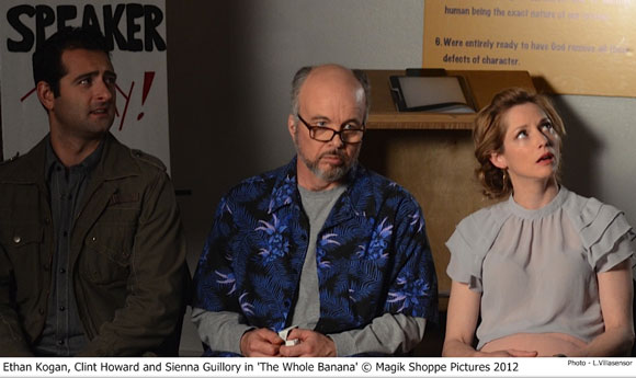 Ethan Kogan, Clint Howard, and Sienna Guillory in 'The Whole Banana'