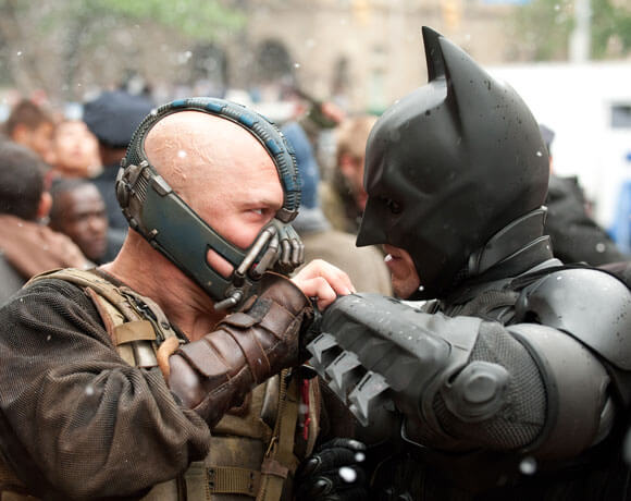 Tom Hardy and Christopher Nolan in The Dark Knight Rises