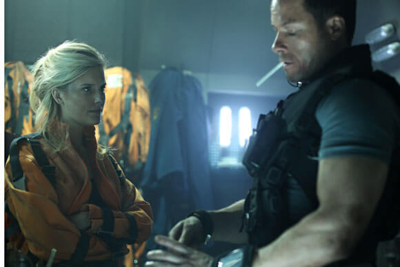 Maggie Grace and Guy Pearce in 'Lockout'