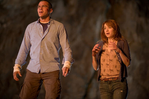 Jesse Williams and Kristen Connolly in The Cabin in the Woods