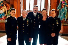 Will Estes, Len Cariou, Tom Selleck, Bridget Moynahan and Donnie Wahlberg Blue Bloods