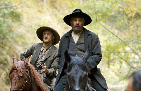 Johnse Hatfield (Matt Barr) and Devil Anse Hatfield (Kevin Costner) in 'Hatfields & McCoys'
