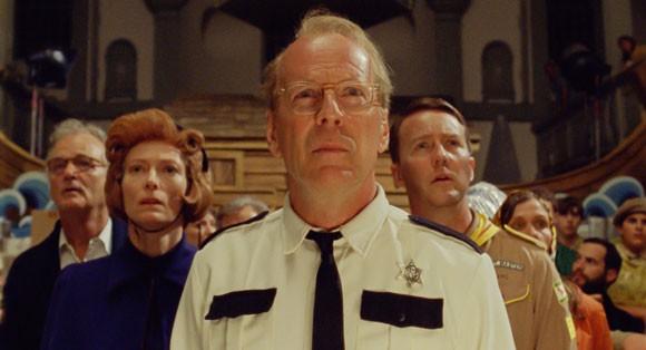 Bill Murray, Tilda Swinton, Bruce Willis, and Edward Norton in Moonrise Kingdom