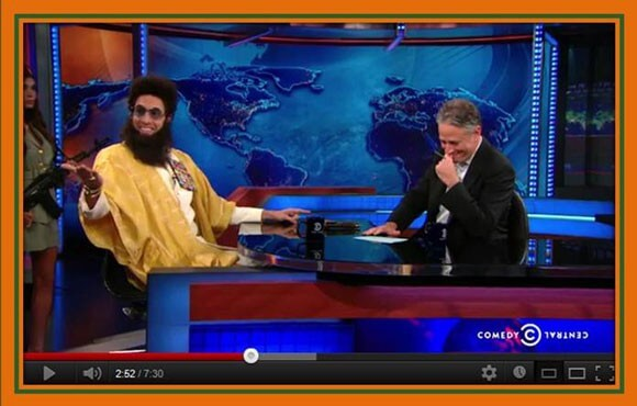 Sacha Baron Cohen on The Daily Show with Jon Stewart
