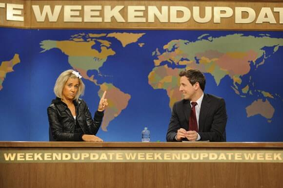 Kristin Wiig and Seth Meyers on the May 5th Saturday Night Live episode