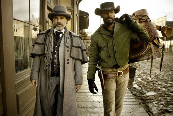 Christoph Waltz as Schultz and Jamie Foxx as Django in DJANGO UNCHAINED