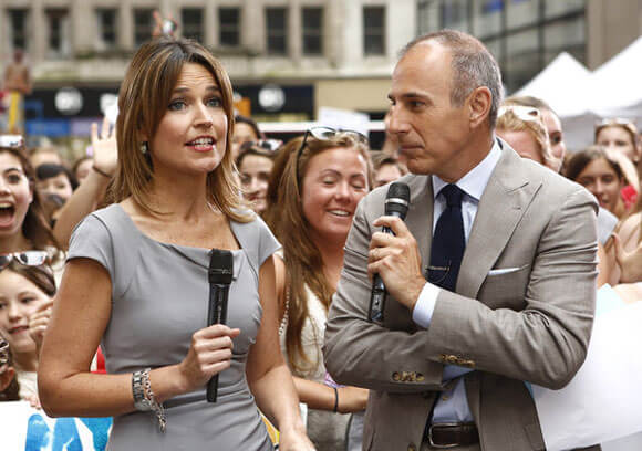 "Savannah Guthrie and Matt Lauer appear on NBC News' ""Today"" show"