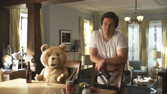 Ted and Mark Wahlberg in a scene from 'Ted'